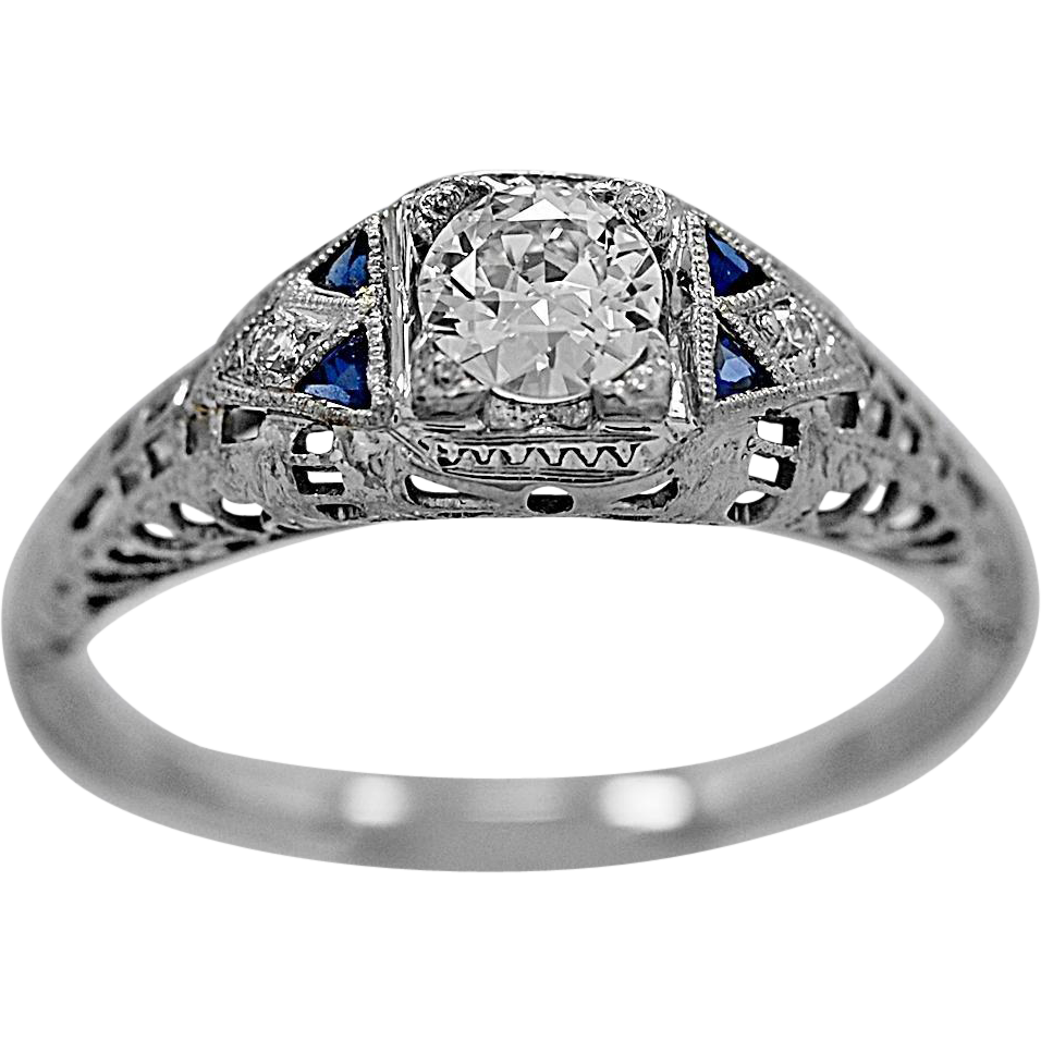 Antique Engagement Ring .31ct. Diamond, Sapphire & 18K White Gold - J35251