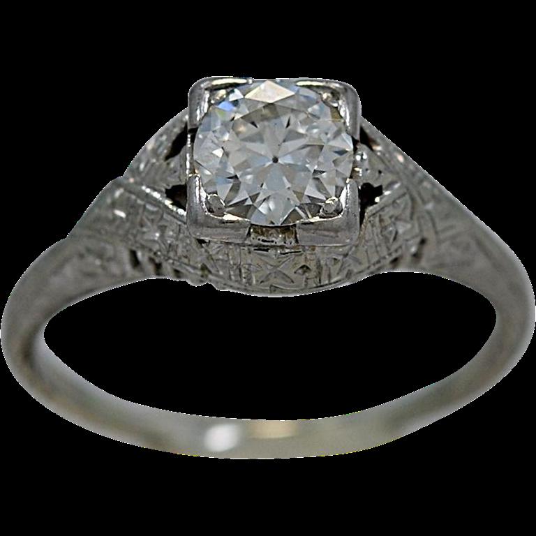 Art Deco .65ct. Diamond & 18K White Gold Engagement Ring - J35262