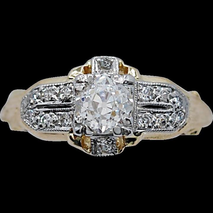 Platinum & White Gold Art Deco Antique Engagement Ring .55ct. Diamond