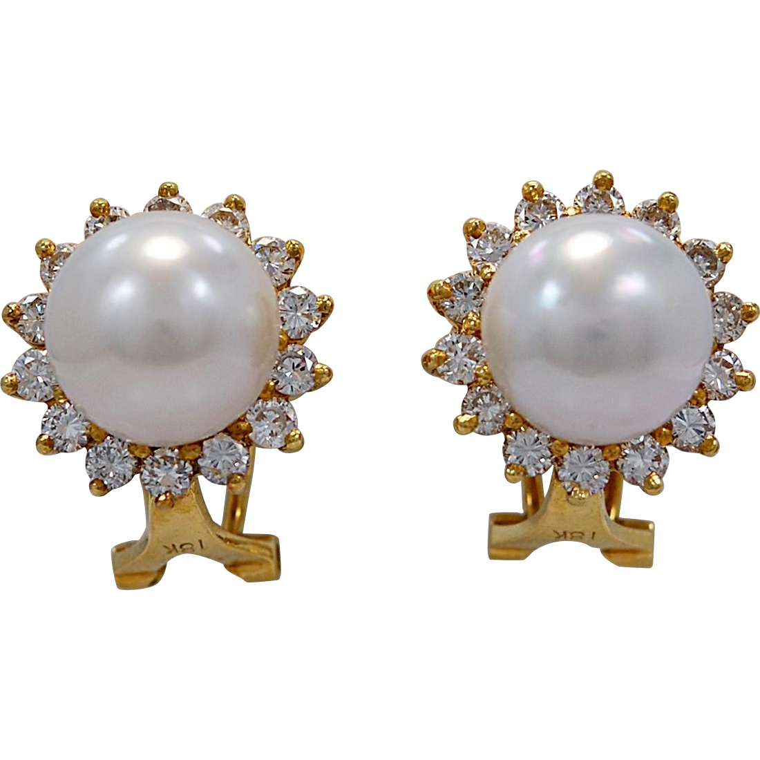 Estate 10mm Pearl, Diamond & 18K Yellow Gold Earrings - J35279