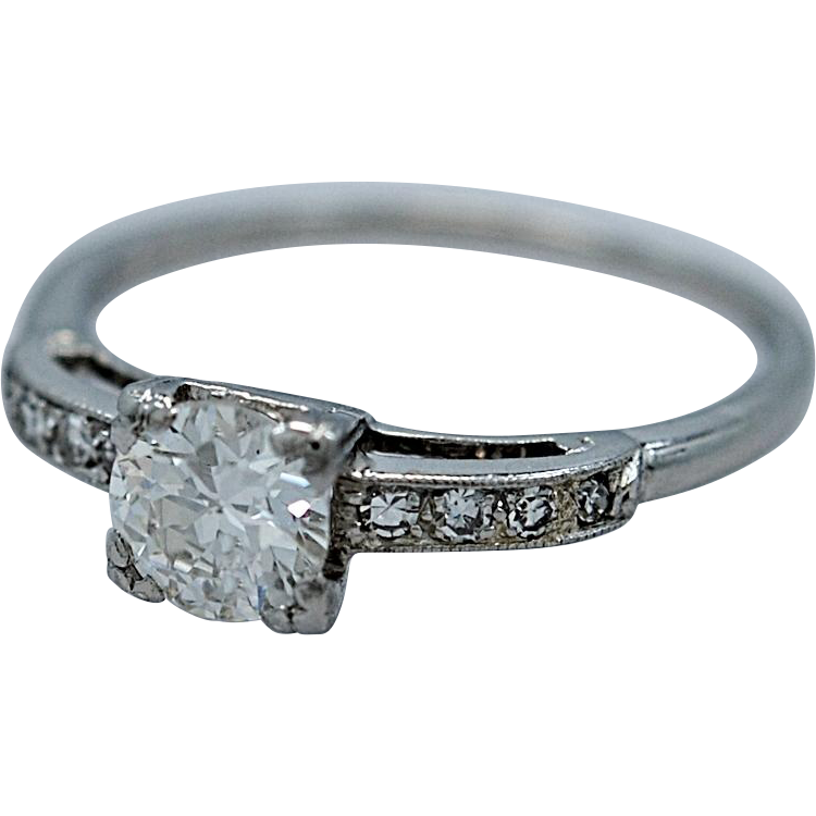 Art Deco .54ct. Diamond & Platinum Engagement Ring - J35293