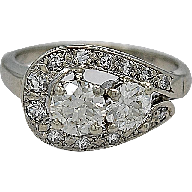 1.08ct. T.W. Diamond Vintage White Gold Engagement/Fashion Ring - J35331