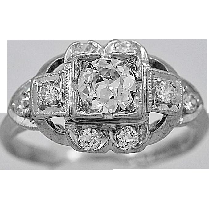 Antique Engagement Ring .38ct. Diamond Platinum Art Deco Fashion Ring - J35335