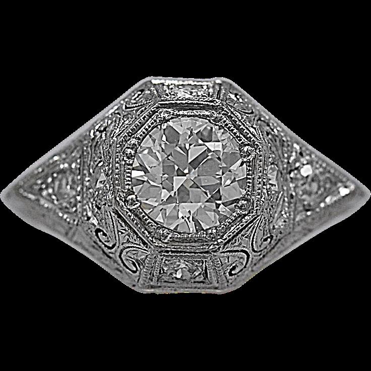 .87ct. Diamond Art Deco Platinum Engagement Ring - J35365