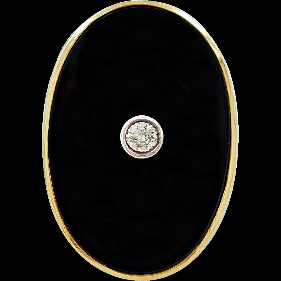 Vintage Black Onyx Yellow Gold Fashion Ring - J35373