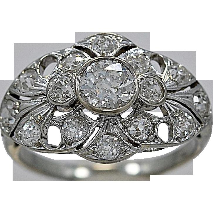 18K White Gold Art Deco .55ct. Diamond Engagement Ring - J35374