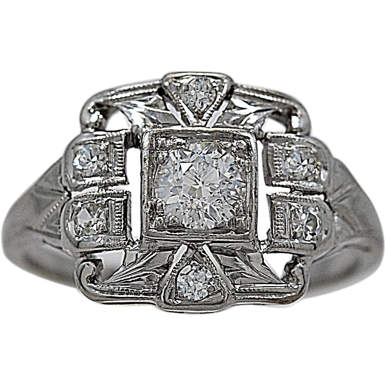 Art Deco .33ct. Diamond & 18K White Gold Engagement Ring - J35380