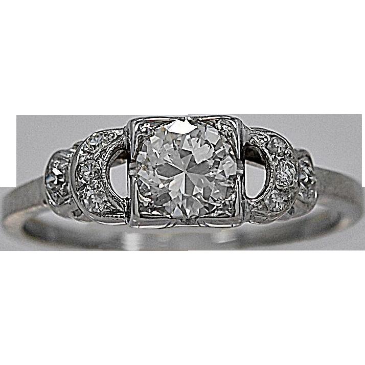 Art Deco .50ct. Diamond & White Gold Engagement Ring - J35408