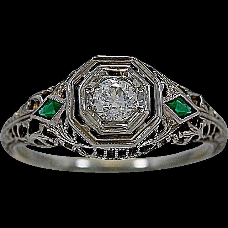 .20ct. Diamond 18K White Gold Art Deco Engagement Ring - J35412