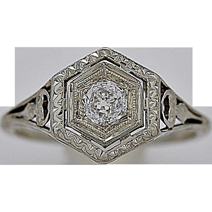 .25ct. Diamond & White Gold Art Deco Engagement Ring - J35416