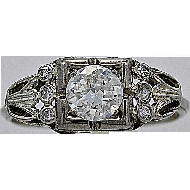 .55ct. Diamond 18K White Gold Art Deco Engagement Ring - J35418