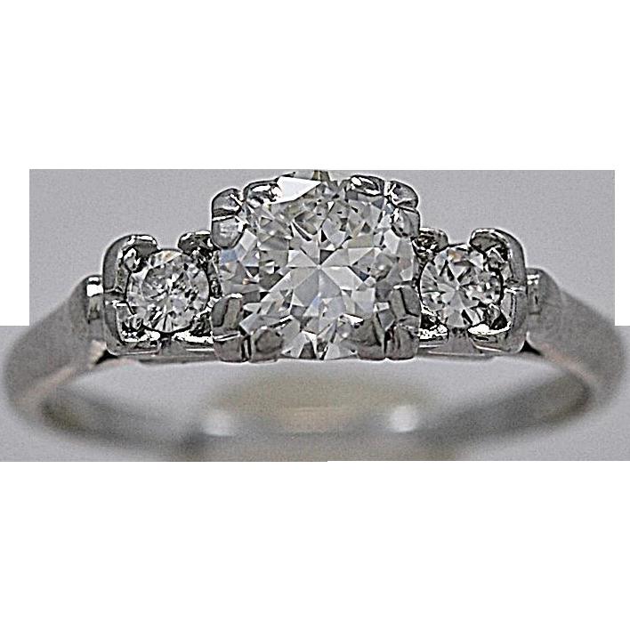 Art Deco .50ct. Diamond & Platinum Engagement Ring - J35419