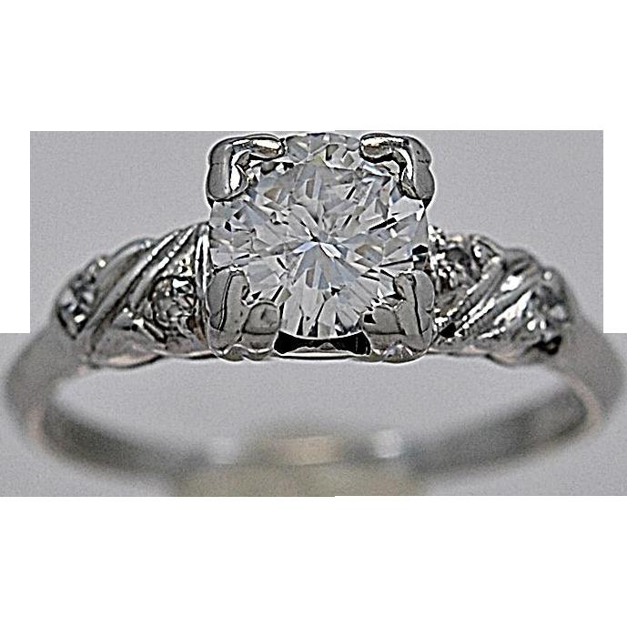 .65ct. Diamond & Platinum Engagement Ring Art Deco - J35420