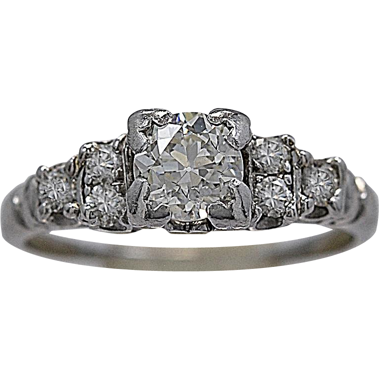 .71ct. Diamond & Platinum Engagement Ring Art Deco - J35426