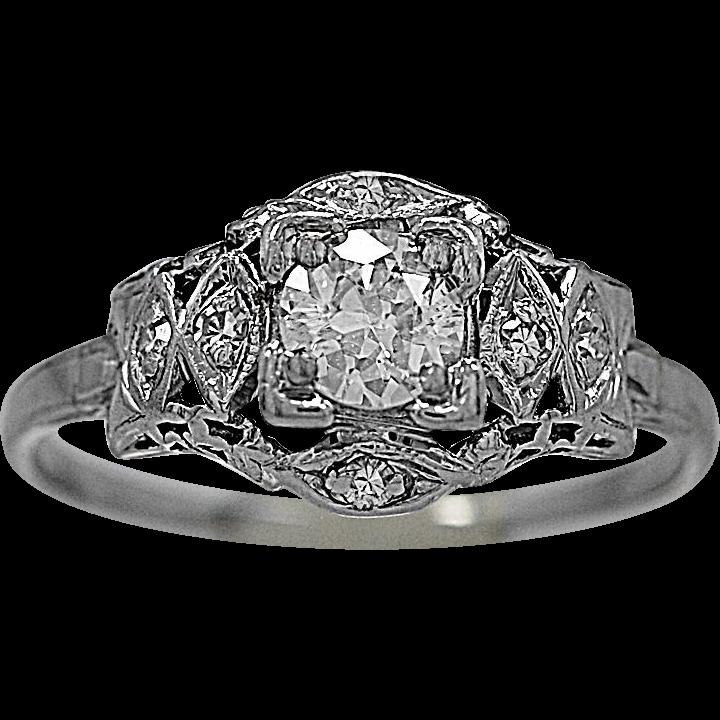 Art Deco .33ct. Diamond & Platinum Engagement Ring - J35433