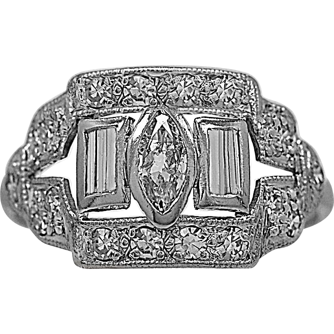 Art Deco .50ct. T.W. Diamond & Platinum Engagement Ring - J35435
