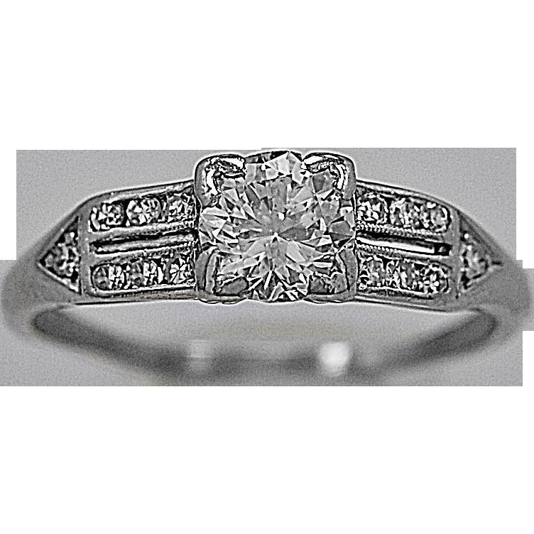 Art Deco .65ct. Diamond & Platinum Engagement Ring - J35436
