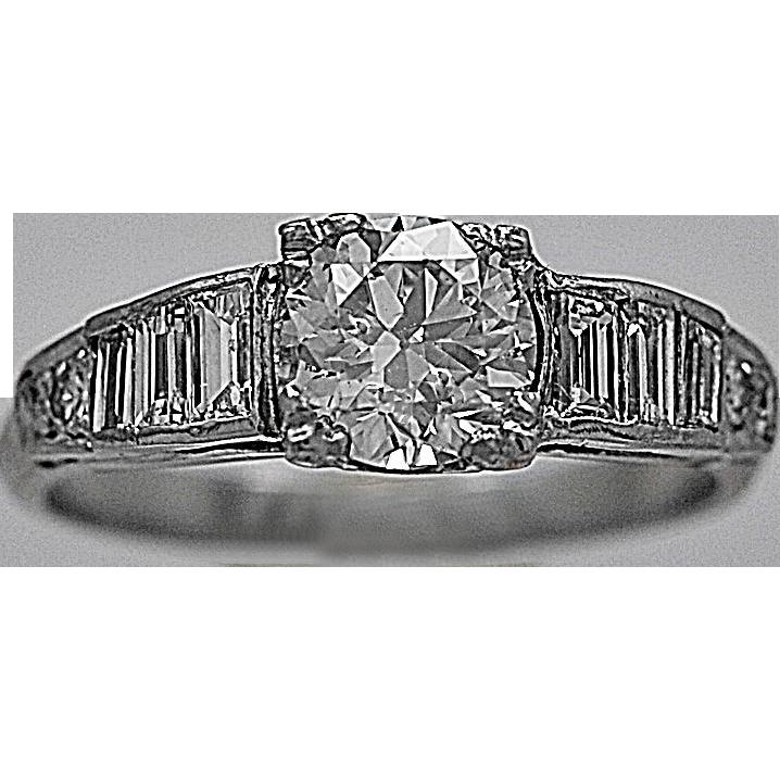 Platinum Art Deco .80ct. Diamond Engagement Ring - J35443