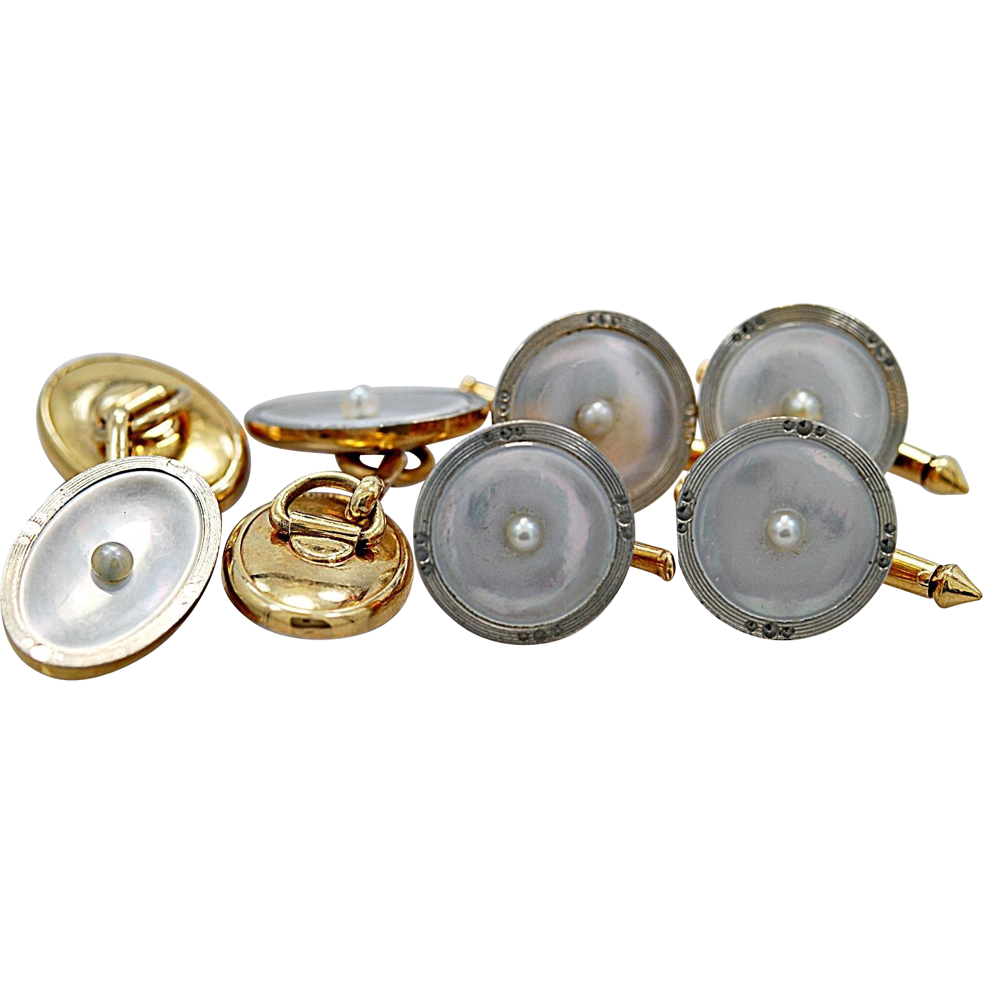 Art Deco Mother-Of-Pearl & White/Yellow Gold Dress Set By Larter & Sons - J35449