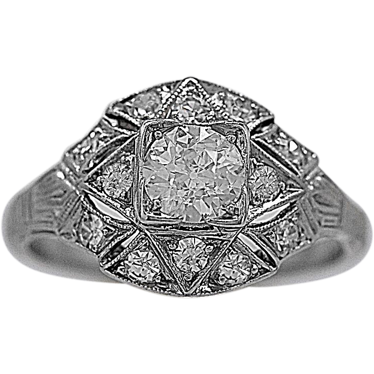 .40ct. Diamond & Platinum Art Deco Engagement Ring - J35457
