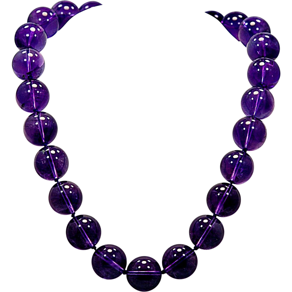 """Estate Amethyst & Yellow Gold 18"""" Bead Strand Necklace - J35459"""