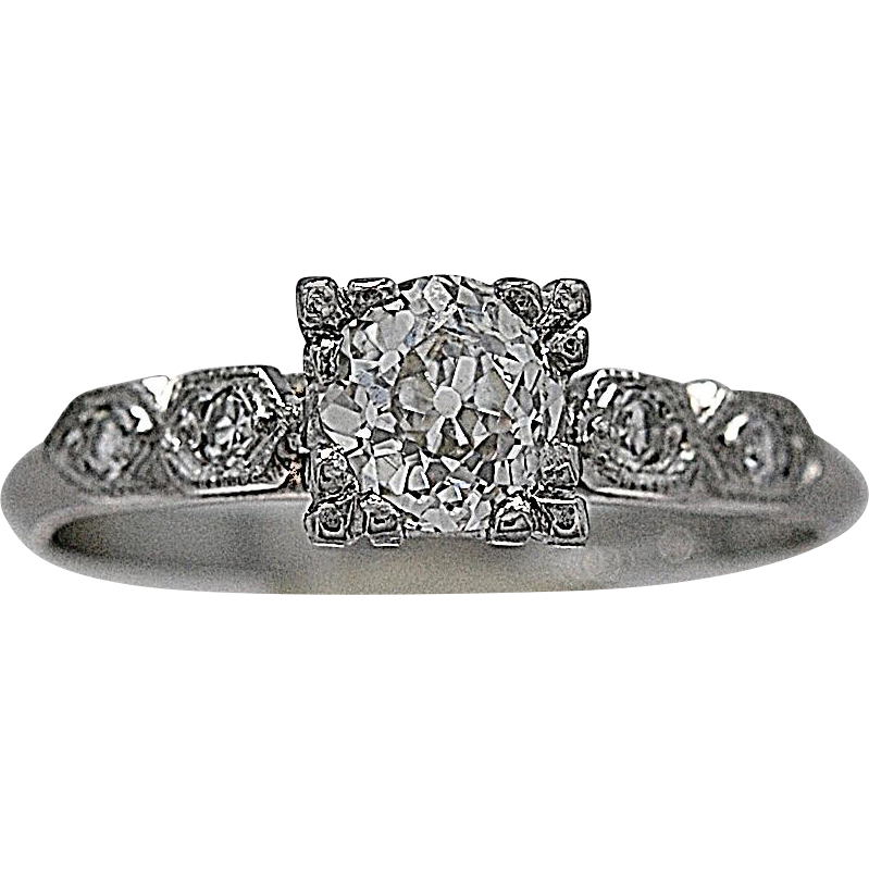 Vintage Engagement Ring .55ct. Diamond & Platinum Art Deco - J35468