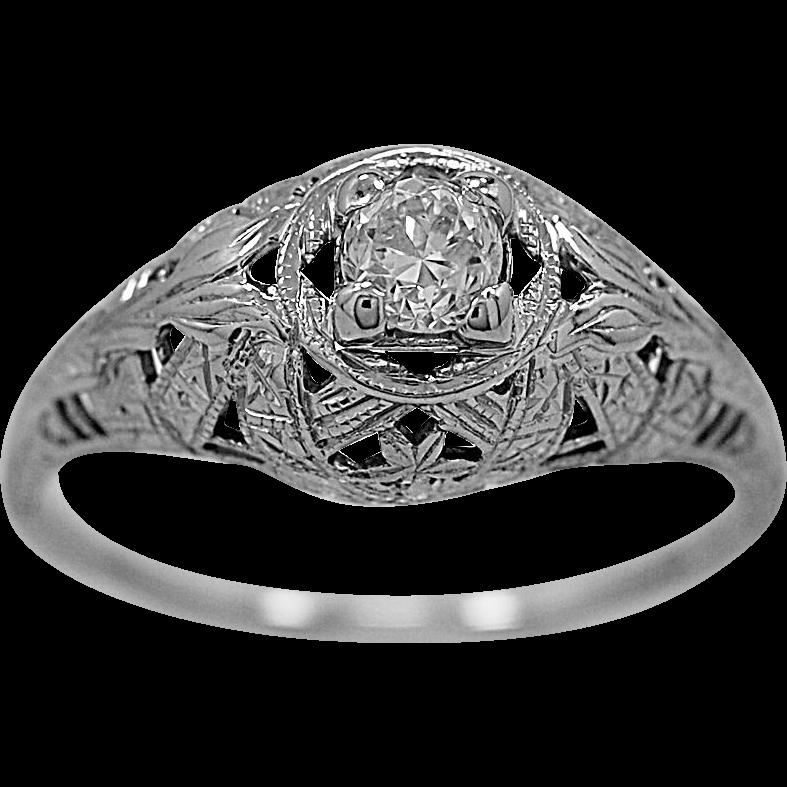 Antique Engagement Ring .25ct. Diamond & 18K White Gold Deco - J35470