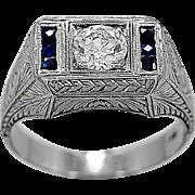 Antique Engagement Ring .75ct. Diamond, Sapphire & 18K White Gold - J35476