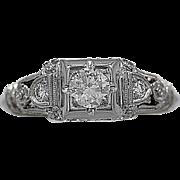 Antique Engagement Ring .33ct. Diamond & 18K White Gold - J35477