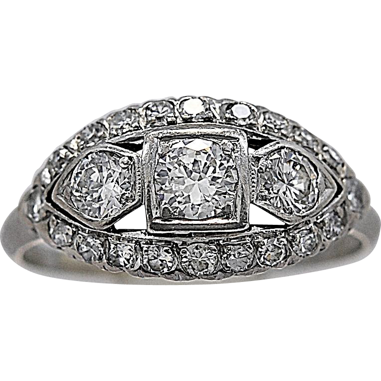 3 Stone Engagement Ring .33ct. Diamond & Platinum Art Deco - J35478