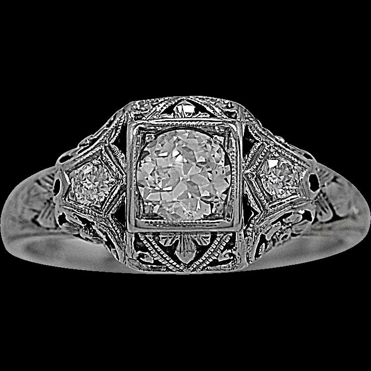 Art Deco .33ct. Diamond & 18K White Gold Engagement Ring - J35483
