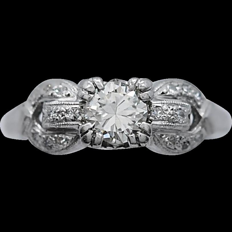 Antique Engagement Ring .40ct. Diamond & Platinum Art Deco - J35487
