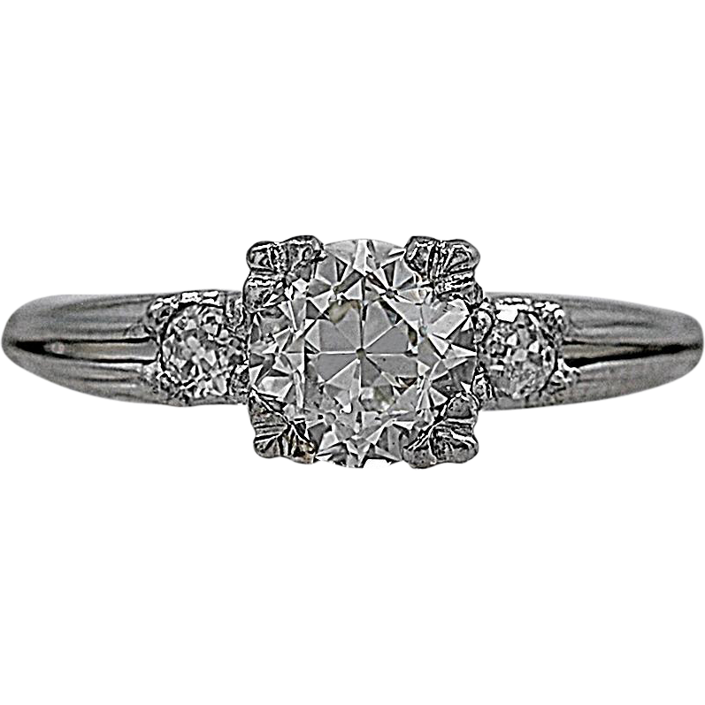 Antique Engagement Ring 1.04ct. Diamond & Platinum Art Deco - J35490