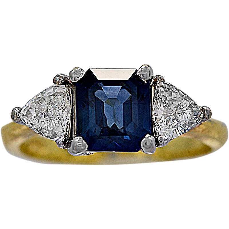 1.20ct. T.W. Diamond, 1.50ct. Sapphire & 18K White/Yellow Gold Vintage Engagement/Fashion Ring - J35491