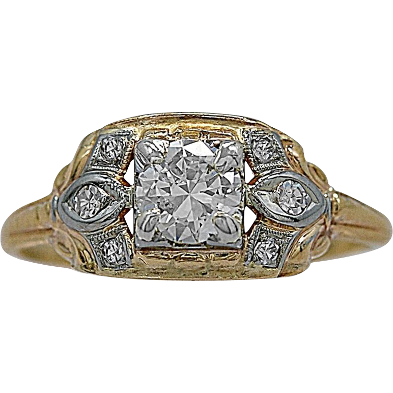 Antique Engagement Ring .60ct. Diamond & White/Yellow Gold Art Deco - J35506
