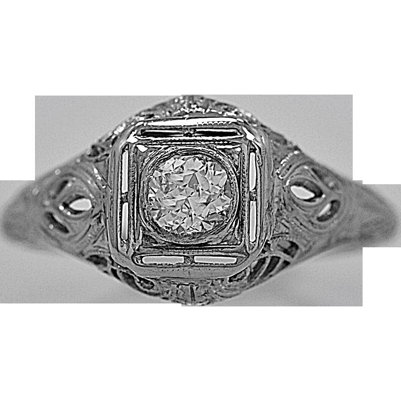 Antique Engagement Ring .26ct. Diamond & 18K White Gold Art Deco - J35507