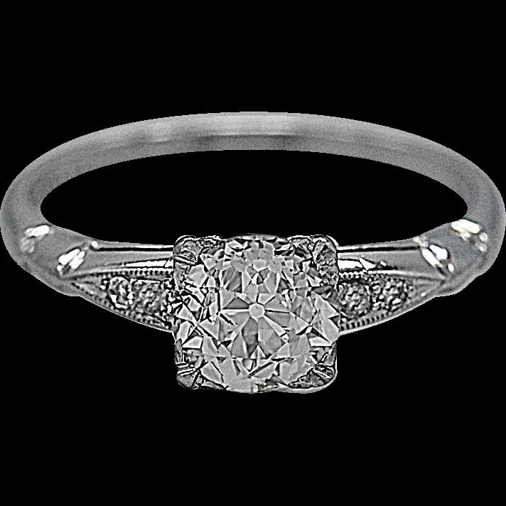 Vintage Engagement Ring Setting .93ct. Diamond & Platinum - J35517