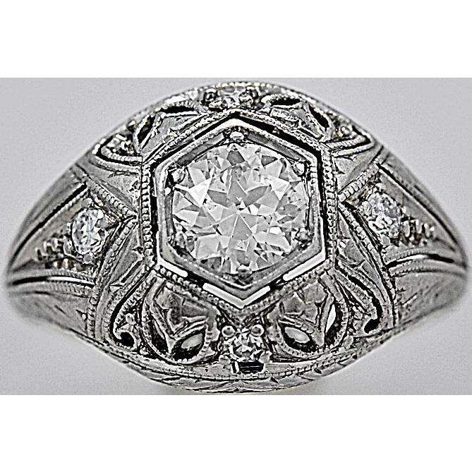 Filigree Antique Engagement Ring Setting .60ct. Diamond & Platinum - J35518