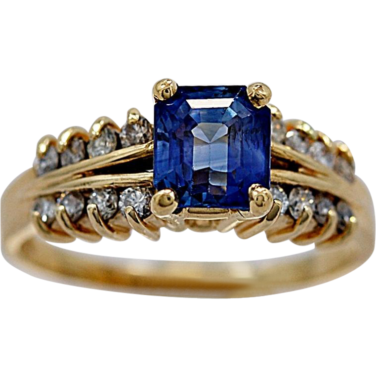 Sapphire Engagement Ring Estate 1.50ct. & Yellow Gold - J35525