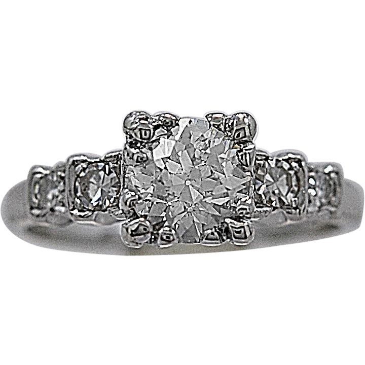 Vintage Engagement Ring .84ct. & Platinum c. 1930's - J35526