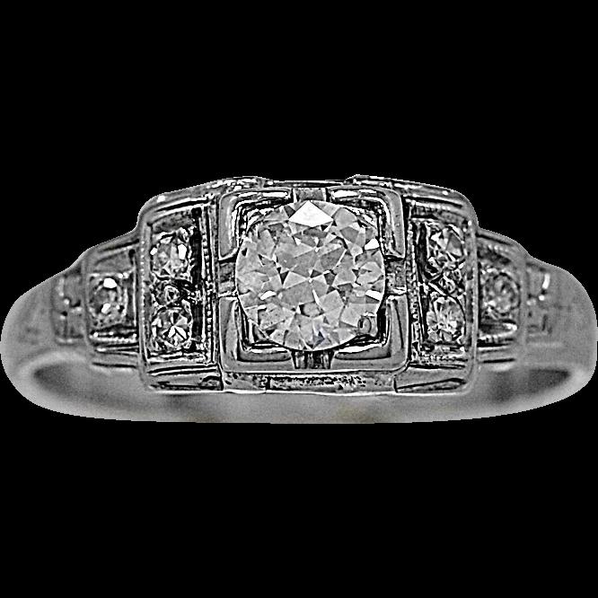Antique Diamond Engagement Ring .25ct. Diamond & White Gold - J35529