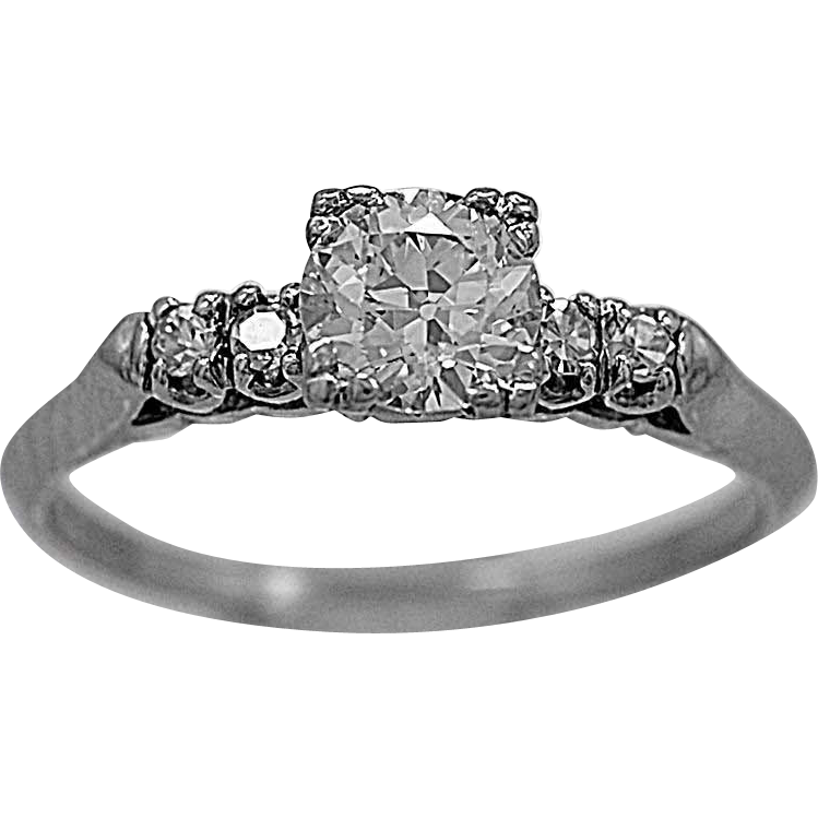 Antique Engagement Ring .68ct. Diamond & Platinum Art Deco - J35547