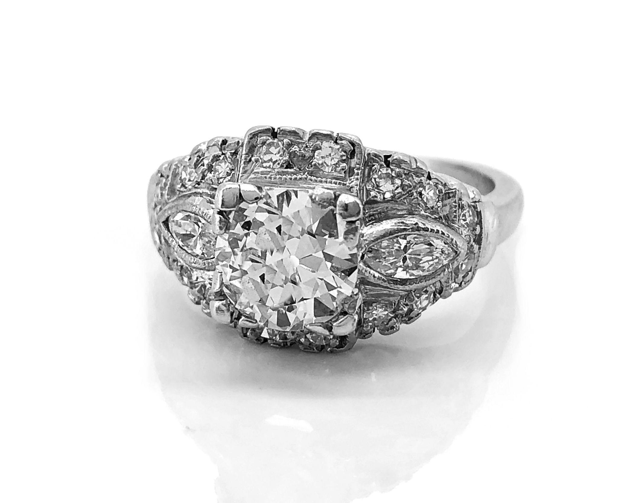 Vintage Engagement Ring .90ct. Diamond & Platinum Art Deco - J35549