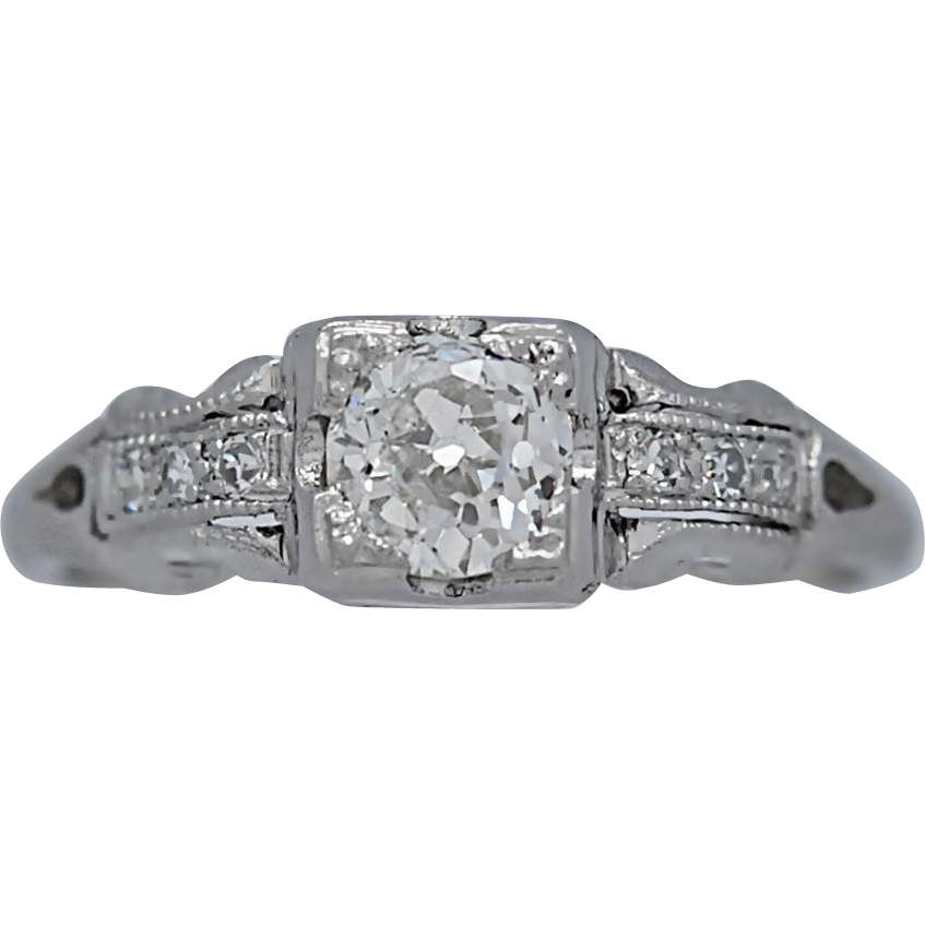 Vintage Engagement Ring .42ct. Diamond & Platinum Art Deco - J35551