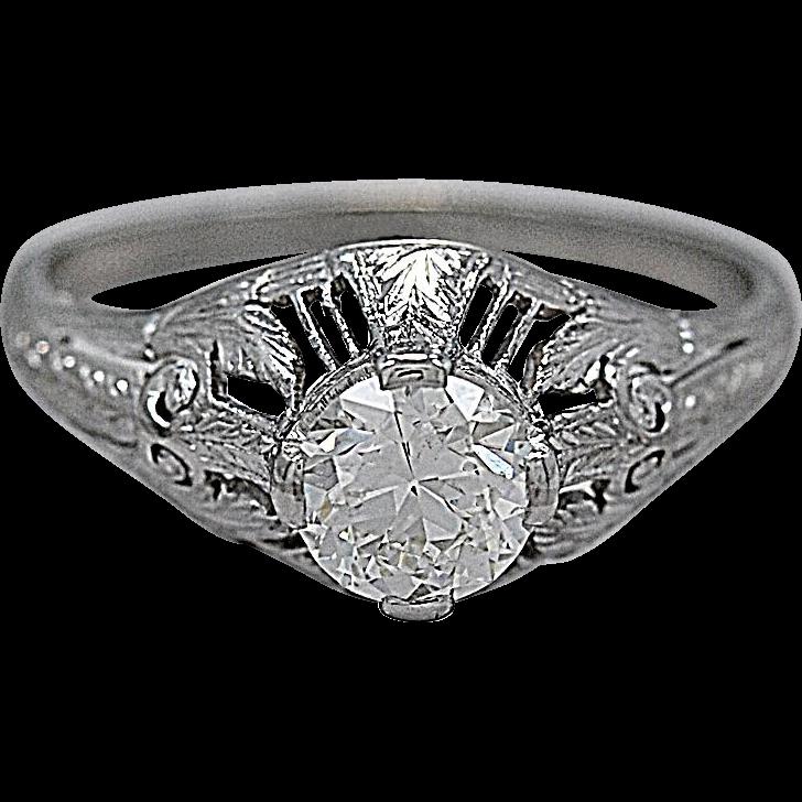 Vintage Engagement Ring Edwardian .72ct. Diamond & Platinum - J35552