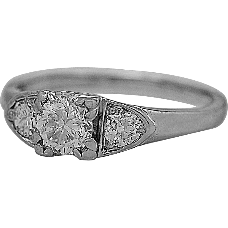 3 Stone Diamond Ring .41ct. Diamond & Platinum Art Deco GIA - J35553