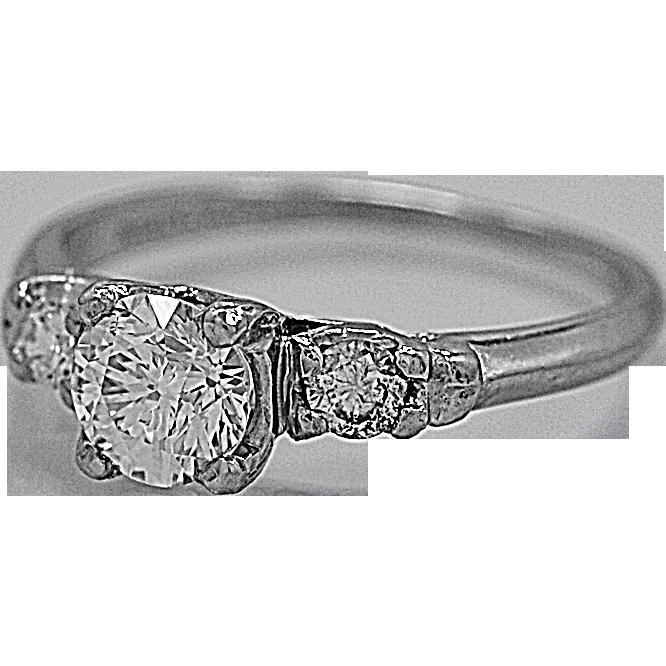 Antique 3 Stone Diamond Ring .51ct. Platinum Art Deco - J35556