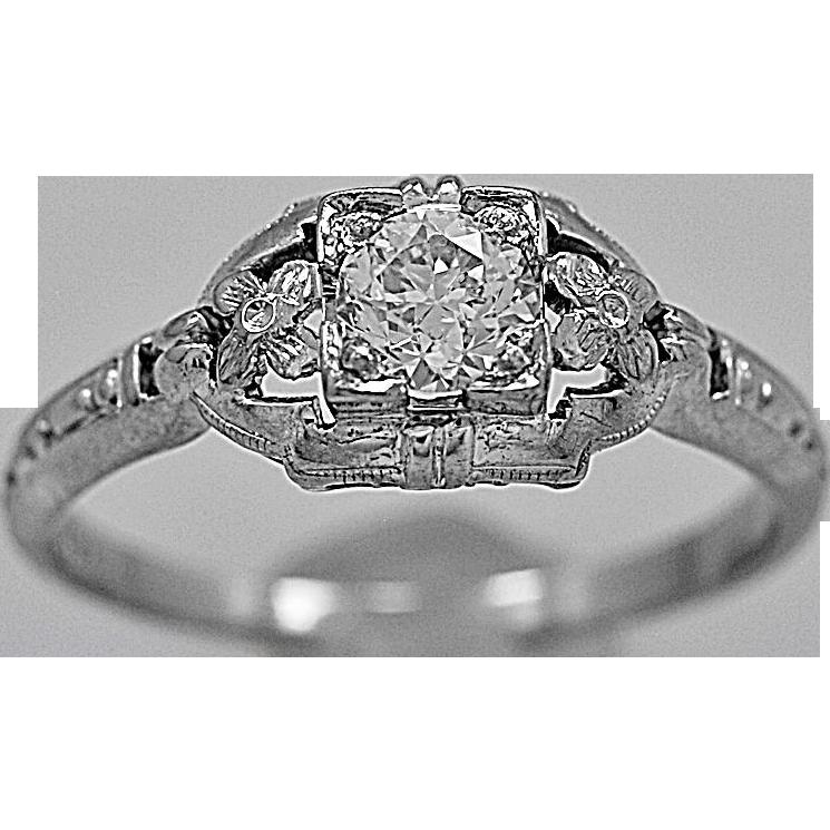 Antique Engagement Ring .33ct. Diamond & 18K White Gold - J35558