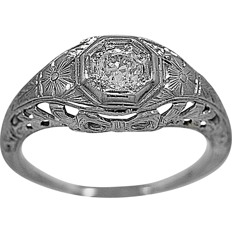 Antique Engagement Ring .25ct. Diamond & 18K White Gold - J35560