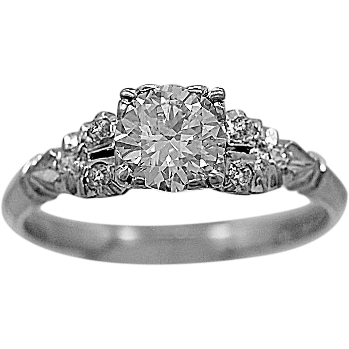 Antique Engagement Ring .75ct. Diamond & Platinum - J35561